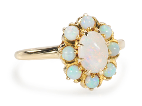 Full Bloom: White Opal Cluster Ring