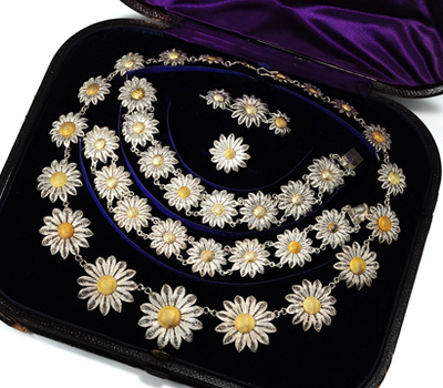 Antique Daisies: 19th C. Silver Filigree Parure