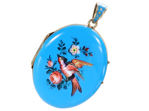 Flight: French Blue Enamel Pendant Locket