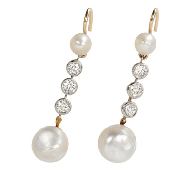 Edwardian Femininity: Diamond Pearl Earrings