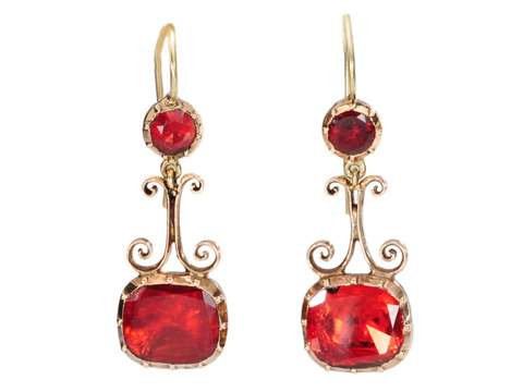Georgian Halley's Comet Garnet Earrings
