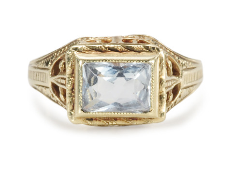Half Moon Bay: Art Deco Aquamarine Ring