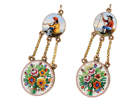 Very Scarce Georgian Micro Mosaic Earrings