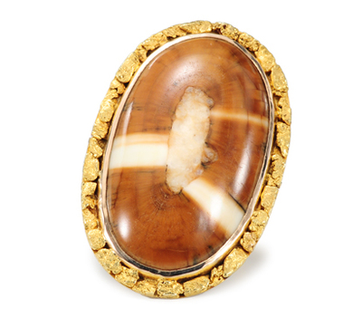 Golden Adventure: Fosslized Tusk & Gold Nugget Ring