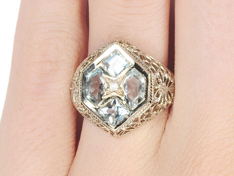 Fancy Filigree in a Vintage Aquamarine Ring