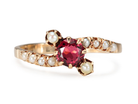 Edwardian Garnet Pearl Crossover Ring