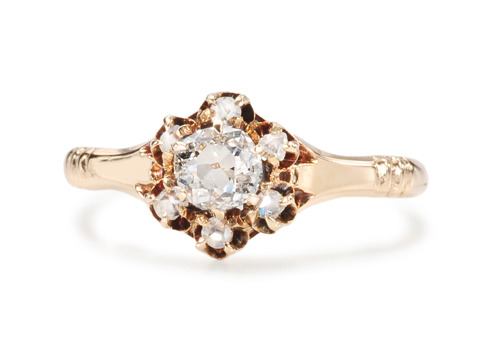 Victorian Cushion Cut Diamond Cluster Ring