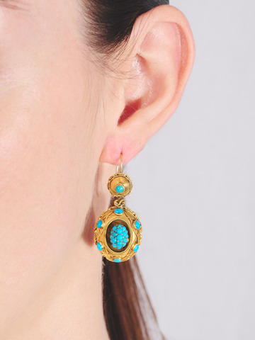 Archaeological Revival Turquoise Earrings
