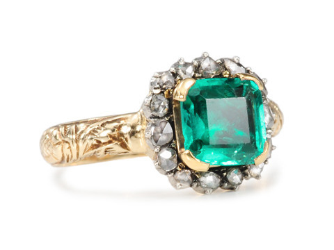 Striking Georgian Emerald Diamond Ring