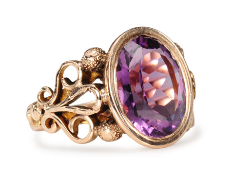 Edwardian Amethyst Ring in Rose Gold