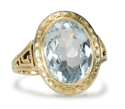 Allsopp Bros. Art Deco Aquamarine Ring