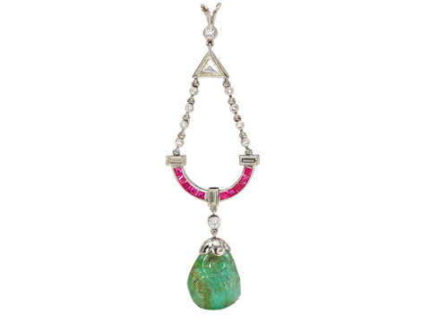 Art Deco Mughal Emerald Diamond Ruby Pendant