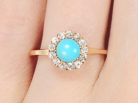 Victorian Mystery: Turquoise Diamond Cluster Ring