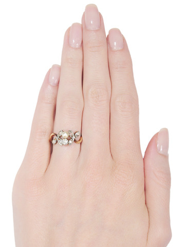 Leaves of Diamonds: Antique Diamond Pearl Ring