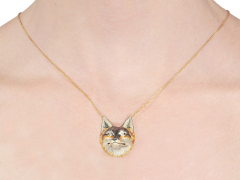 Lead the Way: Enamel & Gold Fox Pendant