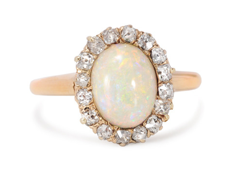 Interplay of Color: Opal & Diamond Cluster Ring