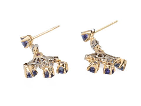 Candlelight & Midnight - Diamond Sapphire Earrings