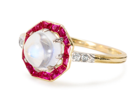 Sunset's Aura - Ruby Moonstone Ring