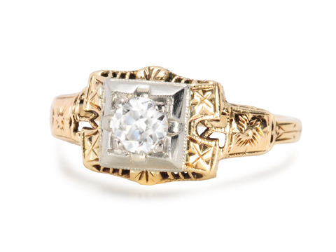 Golden Ice - Vintage Solitaire Diamond Ring