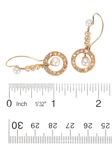 Estate Pearl & Diamond Drop Earrings