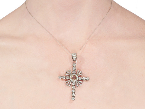 French Silver Paste Cross Pendant