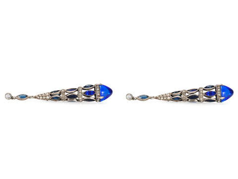 I Dream of Indigo - Art Deco Paste Earrings