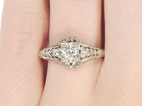 Vintage F Color Diamond Engagement Ring
