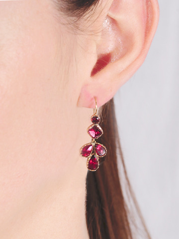Georgian Flat Cut Garnet Earrings