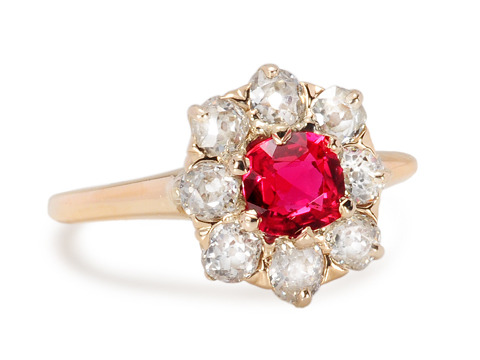 Garden of Color  - Antique Ruby Ring