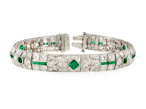 Art Deco Platinum Emerald and Diamond Bracelet