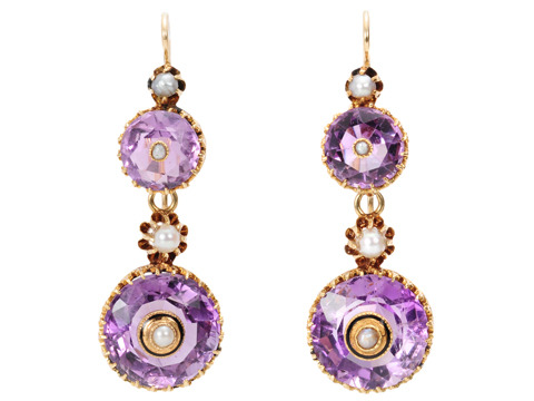 In the Round - Amethyst Antique Earrings