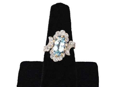 Aquariffic Aquamarine Diamond Ring