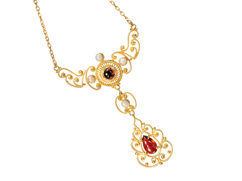 Basking in the Sun - Garnet Pearl Necklace