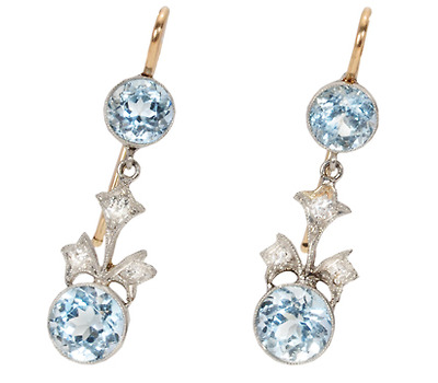 Platinum Blossoms: Vintage Aquamarine Earrings