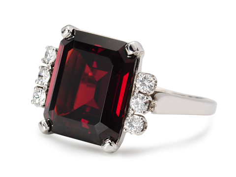 J.E. Caldwell Garnet & Diamond Ring