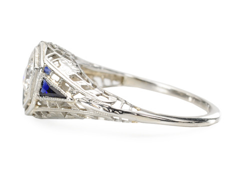 Dramatic Ice: Art Deco Diamond Sapphire Ring