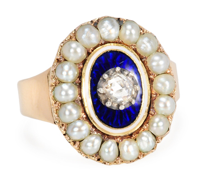 Georgian Pearl Diamond & Enamel Cluster Ring