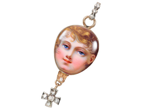 Unique Georgian Enamel Child Portrait Pendant