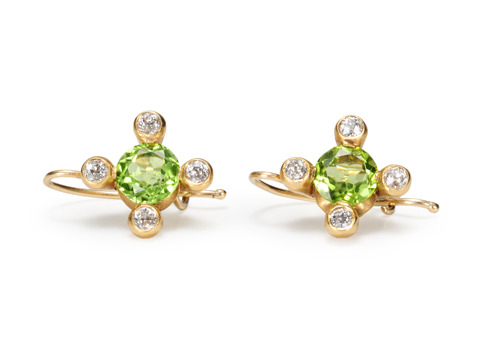Antique Flowers: Peridot & Diamond Earrings