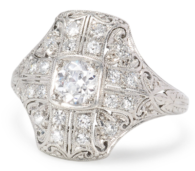 Deco Dazzle: Diamond Platinum Ring