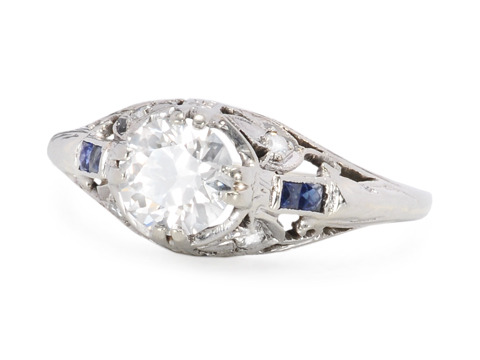 Art Deco Grand: Diamond Sapphire Ring