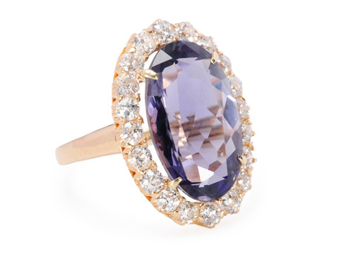 Glittering Halo: Vintage Iolite & Diamond Ring