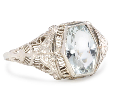 Ethereal Vintage Aquamarine Filigree Ring