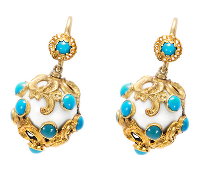Points of Color: Antique Turquoise Earrings