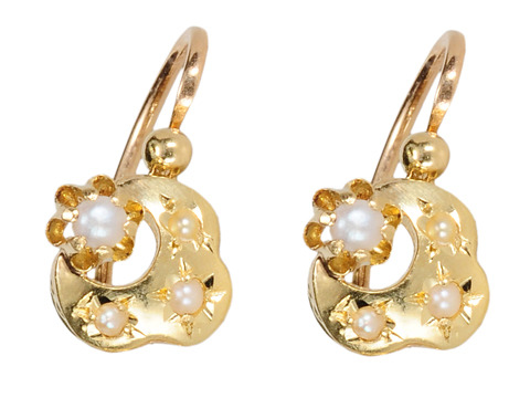 French Antique Moon & Star Pearl Earrings