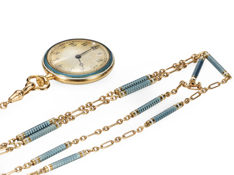 French Enamel Watch & Chain with Original Box