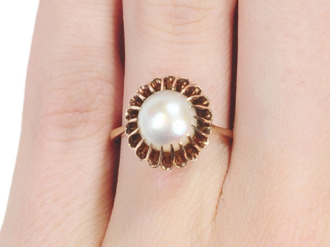 Luscious Vintage Art Deco Pearl Cluster Ring