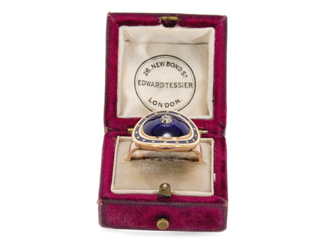 Sensuous Georgian Blue Enamel Ring ca. 1790