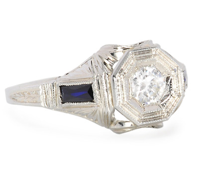 An Art Deco Treat: Diamond Sapphire Ring