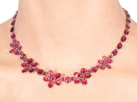 Think of Me: Garnet Pansy Flower Necklace